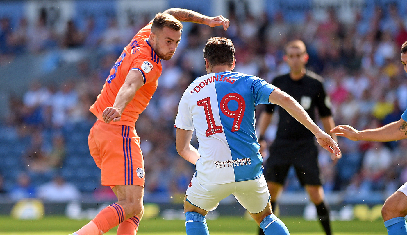 Joe Ralls in action at Ewood Park...